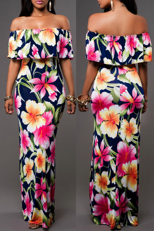 Wearvip Bohemian Flounce Trim Floral Print Maxi Dress