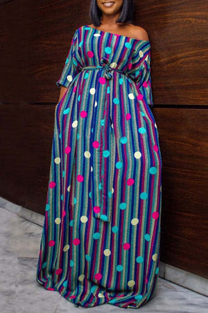 Wearvip Bohemian Striped Print Chinese style Maxi Dress