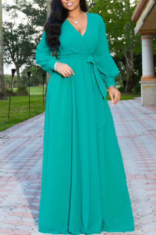 Wearvip Bohemian V-neck Long Sleeve Chiffon Maxi Dress