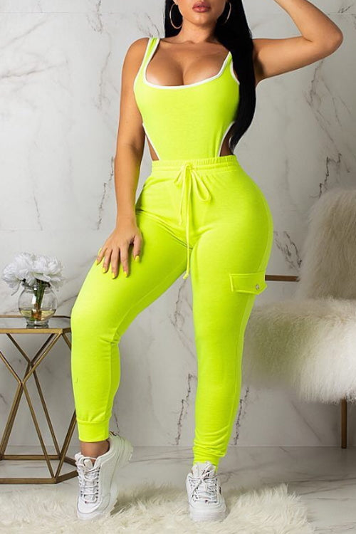 Wearvip Sporty Neon Sleeveless Hollow-out Pants Sets