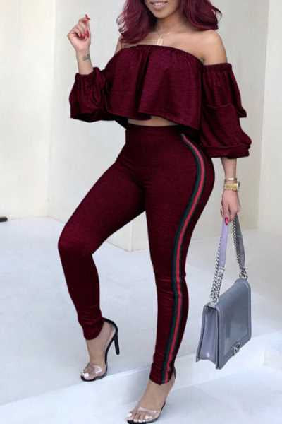 Wearvip Casual Flounce Trim Stripe Patchwork Pants Sets