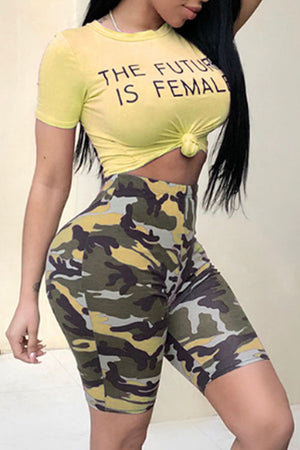 Wearvip Casual  Letters Print Camouflage Shorts Sets