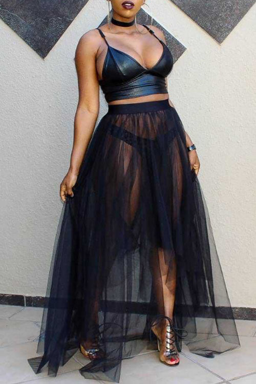 Wearvip Party Spaghetti Strap See-through Mesh Skirt Sets