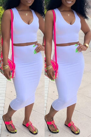 Wearvip Casual V-neck Solid Color Sleeveless Skirt Sets