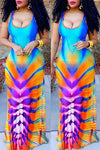 Wearvip Bohemian Gradient Print Dress