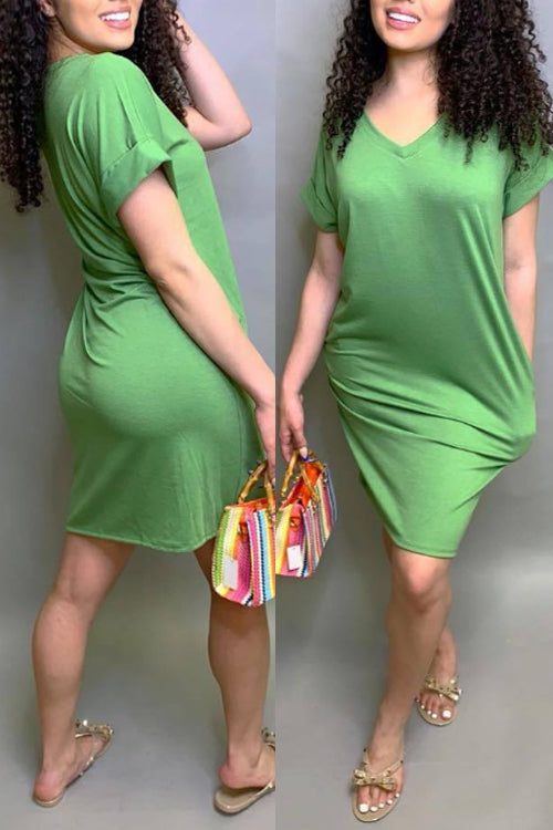 Wearvip Casual Solid Color V-neck Midi Dress