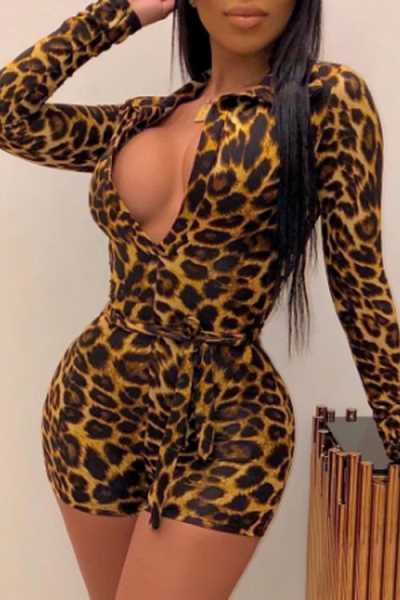 Wearvip Casual Leopard Print Romper (With Belt)