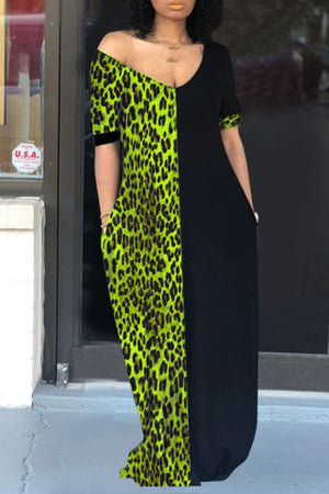 Wearvip Casual V-neck Leopard Print Patchwork Maxi Dress