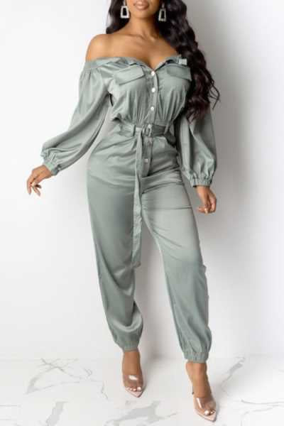 Wearvip Casual Frock Style Button Up Jumpsuit (With Belt)