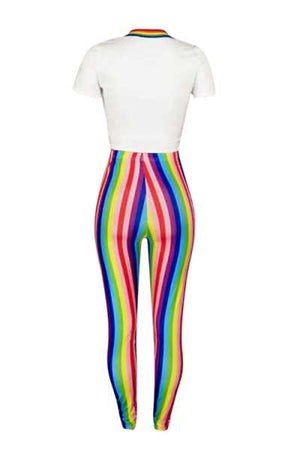 Wearvip Casual Bodycon Rainbow Letters Print Pants Sets