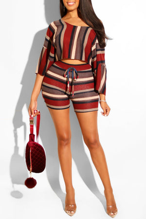 Wearvip Casual Striped Print Half Sleeve Shorts Sets