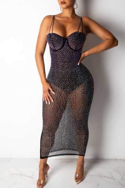 Wearvip Party See-through Backless Hot Drilling Maxi Dress