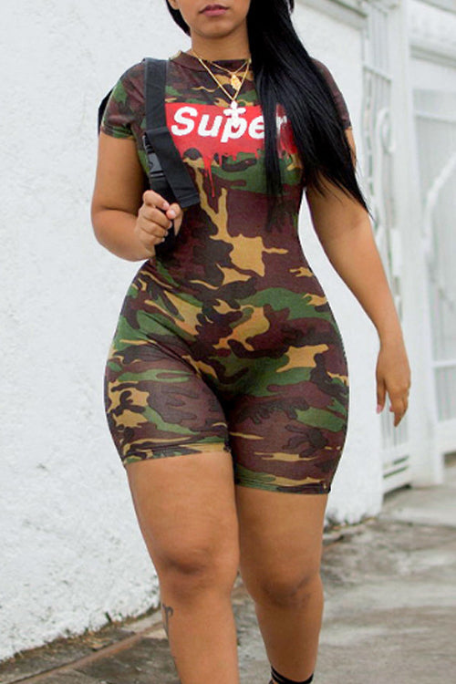 Wearvip Casual Letters Camouflage Print Romper