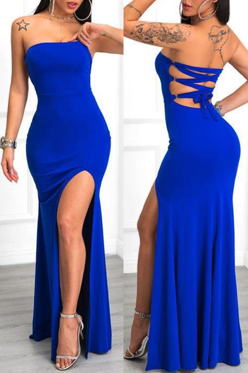 Wearvip Party Strapless Backless Split Maxi Dress