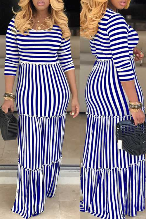 Wearvip Casual O-neck Striped Print Maxi Dress