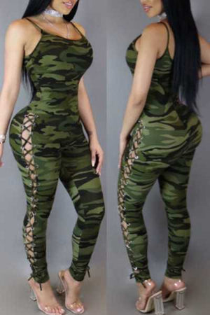 Wearvip Casual Camouflage Print Lace Up Jumpsuit