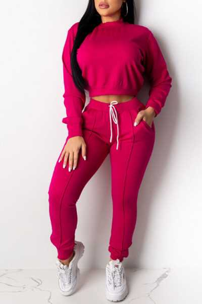 Wearvip Casual Long Sleeve Solid Color Pants Sets (With Pockets)