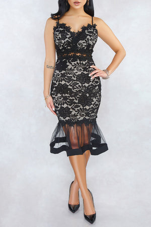 Wearvip OL Lace Fishtail Spaghetti Strap Midi Dress