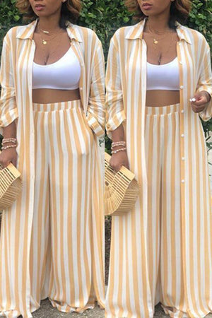 Wearvip Casual Loose Striped Print Pant Sets