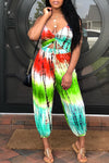 Wearvip Casual V-neck Halter Backless Tie Dye Print Jumpsuit