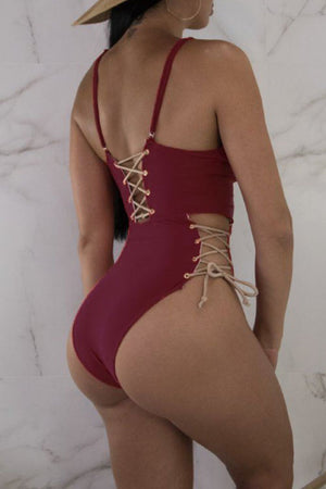 Wearvip Bohemian Lace-up Backless One-piece