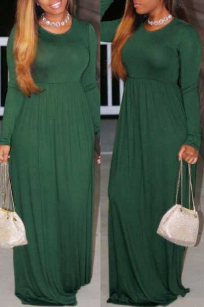 Wearvip Casual Loose O-neck Long Sleeve Maxi Dress