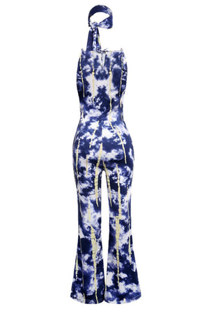 Wearvip Casual Tie Dye Print Wide Leg Jumpsuit(with headband)
