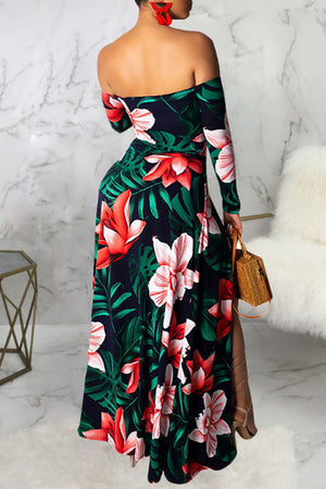 Wearvip Bohemian Floral Print One Shoulder Hollow Dress
