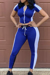 Wearvip Sporty Patchwork Midriff Zipper Pant Sets