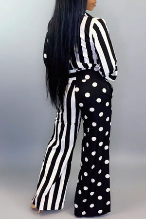 Wearvip Casual Loose Striped Polka Dot Print Jumpsuit