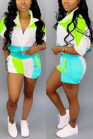 Wearvip Sporty Patchwork Half Sleeve Short Sets