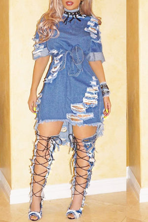 Wearvip Casual Holes Denim Mini Dress
