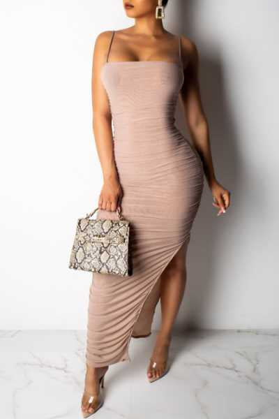 Wearvip Party Spaghetti Strap Backless Split Maxi Dress