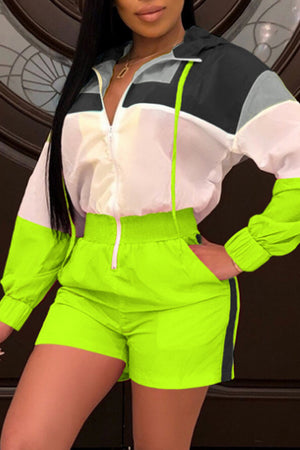 Wearvip Sporty Hooded Patchwork Long Sleeve Romper
