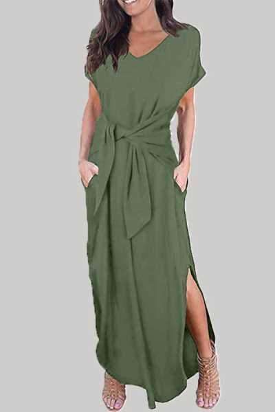 Wearvip Casual V-neck Tie Design Split Maxi Dress