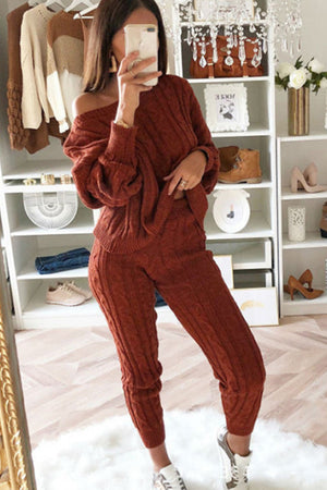 Wearvip Casual Long Sleeve Solid Color Sweater Pants Sets