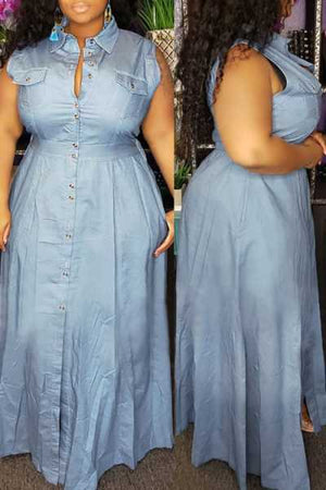 Wearvip Casual Sleeveless Button Up Denim Maxi Dress