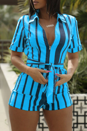 Wearvip Casual Shirt Collar Striped Zipper Romper