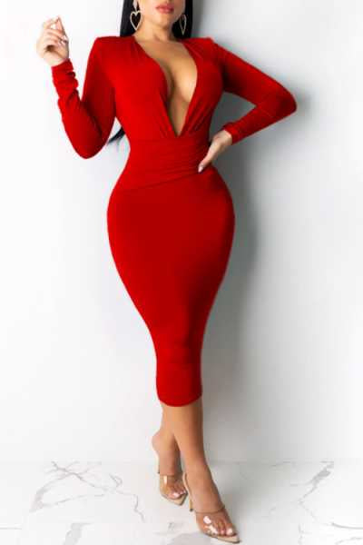 Wearvip OL V-neck Long Sleeve Solid Color Midi Dress