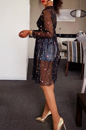 Wearvip Casual Loose Mesh Embroidery Dress