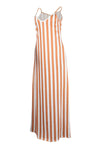 Wearvip Casual Loose Spaghetti Strap V-neck Striped Print Maxi Dress