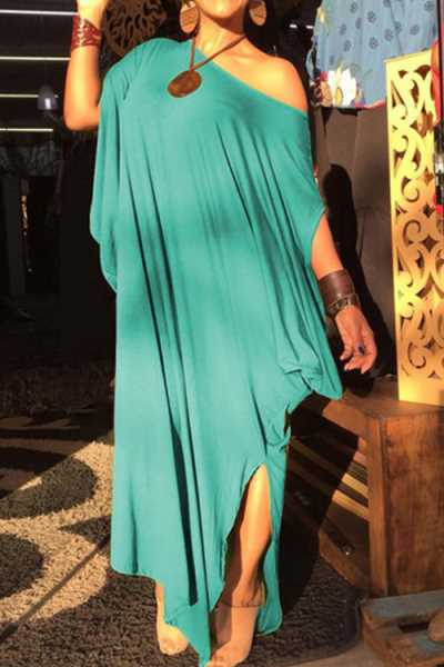 Wearvip Casual Loose One-shoulder Irregular Maxi Dress
