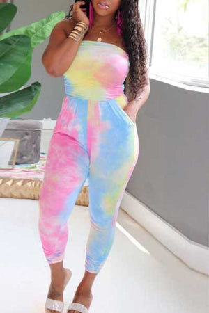 Wearvip Casual Strapless Tie Dye Print Jumpsuit (With Pocket)