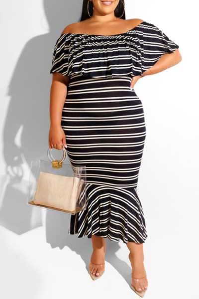 Wearvip Casual Striped Print Flounce Trim Midi Dress