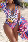 Wearvip Bohemian Geometric Print One-piece (With Outwear)