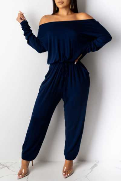 Wearvip Casual Loose Off Shoulder Solid Color Jumpsuit