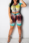 Wearvip Casual Tie Dye Print Hoded Short Sets