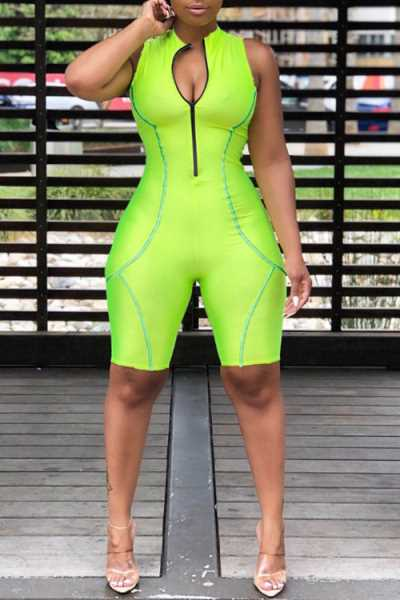 Wearvip Sporty Sleeveless Zip Up Romper