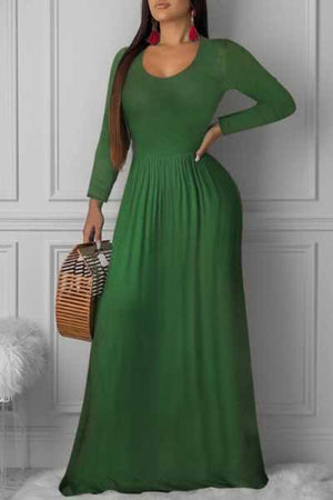 Wearvip Casual Round Neck Long Sleeve Maxi Dress