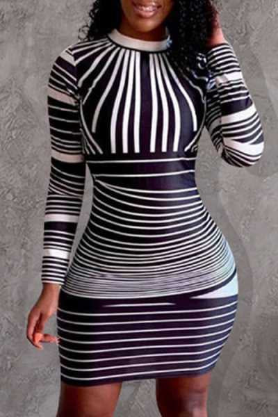 Wearvip Casual Bodycon Striped Print Back Zip Up Mini Dress